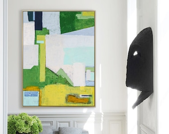Abstract Painting Original Large Acrylic Canvas Wall Art, Green Contemporary Modern Abstract Art on Canvas - The thoughts of memory