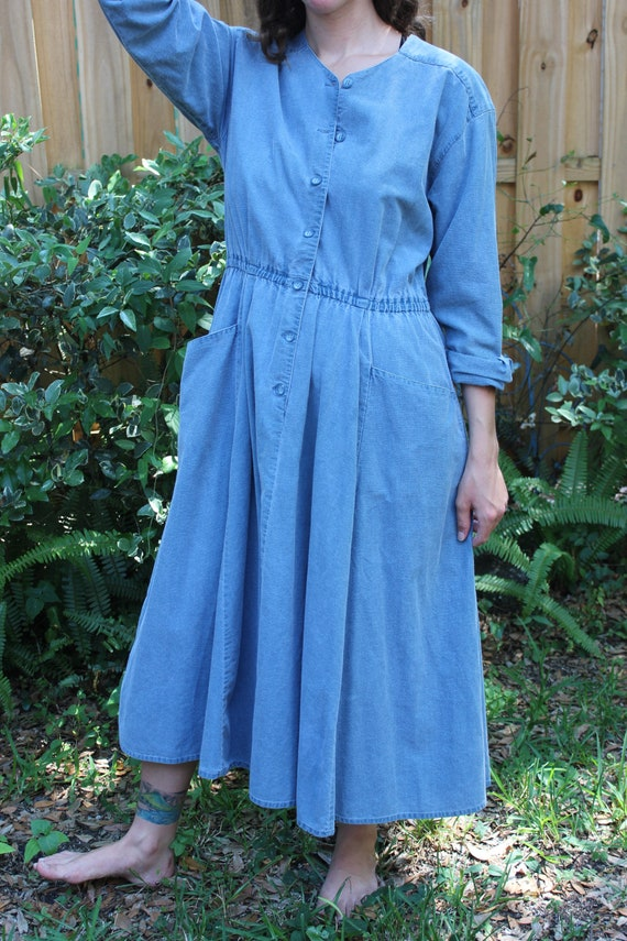 Vintage Hippie Denim Dress, Painters Dress, Boho, Oversized Pockets, Flowy Long Sleeve Dress, Vintage Banana Republic, Prairie, Small Med