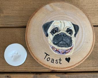 Handpainted pet portrait woodslice