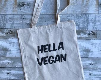 HELLA VEGAN Tote Bag | Vegan | Veganism |  | Vegan Merch | Vegan Bag| Compassion | Festival Bag | Grocery