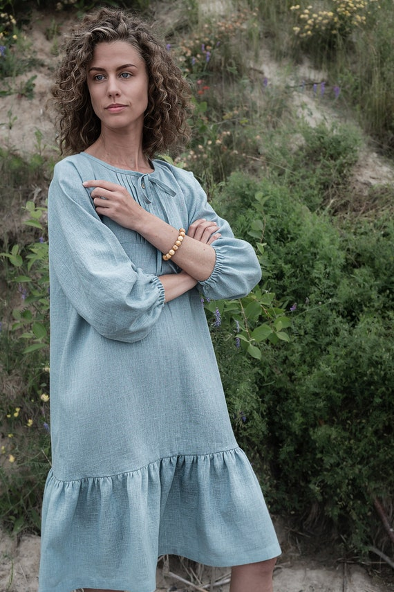 Linen ruffle dress Sample Sale size S Top with buttons Office outfit Party Casual dress Loose dress Linen dress with belt Maternity dress