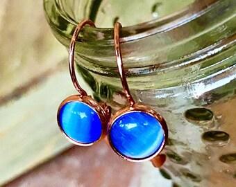 Sea Blue Cat/'s Eye Gemstone earrings dangling moonstone Rose Gold semi-precious chrysoberyl 8mm lever back USA small lever-back