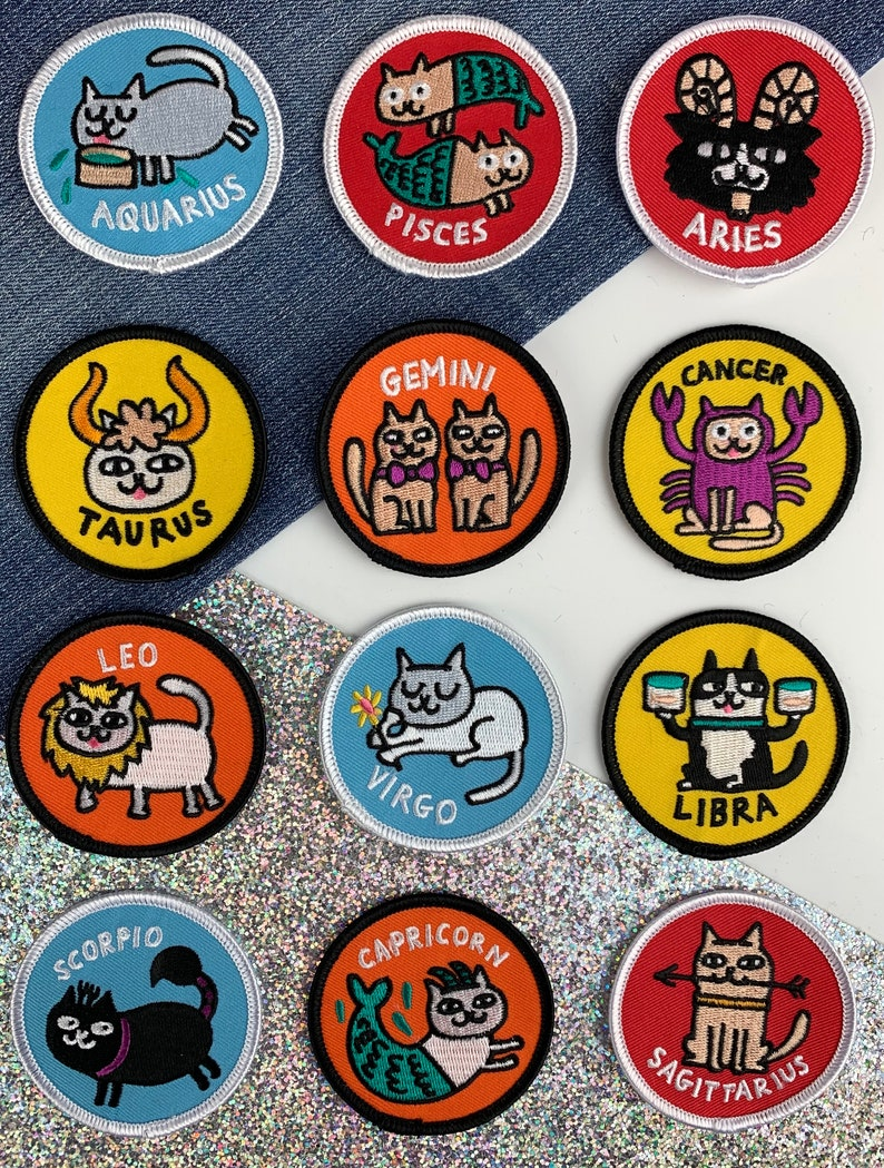 Catstrology Patches pick your sign  Gemma Correll & Badge image 0