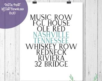 dbfe71b37 Nashville Tennessee Music Row Whiskey Row Word Digital Art Print Wall Art  Digital Download Instant Download 8x10