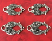 4 Feng Shui Double Fish Charms Antique Silver Tone
