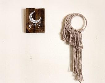 Crescent Moon Macrame Wall Hanging, Beige, Boho-Chic Home Decor, Handmade Wall Art
