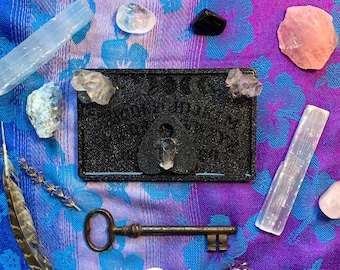 Sparkly Black Ouija Board Rolling Tray with Real Quartz Crystals and Matching Planchette