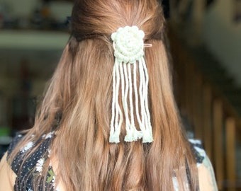 Macrame Hair Clips, Black and White Cord, Silver and Gold Finish, Handmade Accessories, Boho-Chic Hippy Hair Pins