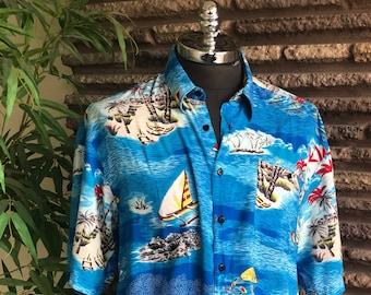 44163aebc Vintage 80s Monticerutti Men's Hawaiian Rayon Camp Aloha Shirt