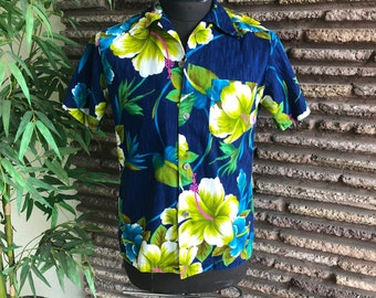 62ddc6ad Vintage 70s Royal Hawaiian Men's Barkcloth Camp Aloha Coin Buttons Shirt