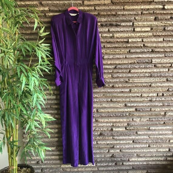 Pappagallo Vintage 80s Purple Silk Long Sleeve Wid