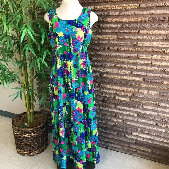 Vintage 70s Hawaiian Floral Maxi Hostess Dress