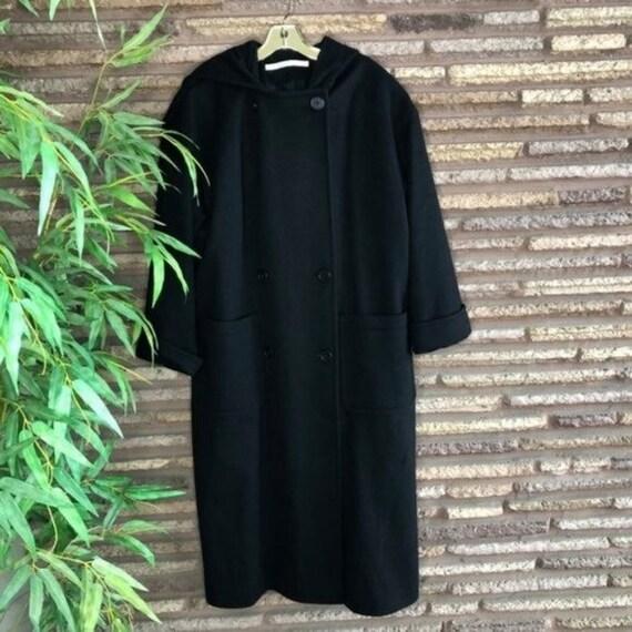 Perry Ellis Vintage Black Wool Maxi Coat