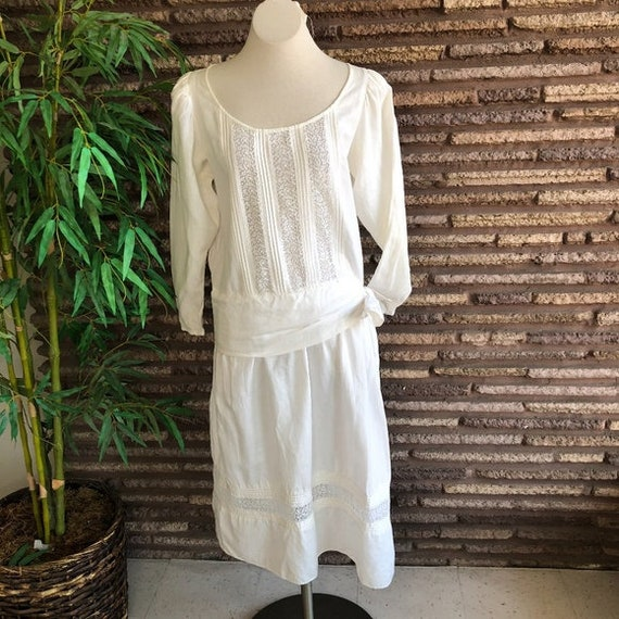 Eileen West Vintage Edwardian White Dropped Waist