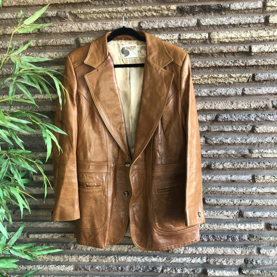 Silton Mens Vintage Brown Leather 70s Rockabilly B