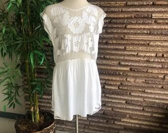 Vintage white Floral Cut Work Bathing Suit Coverup