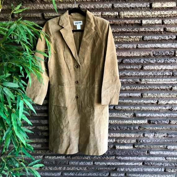 Bagatelle Vintage 70s Tan Suede Leather Trench Coa