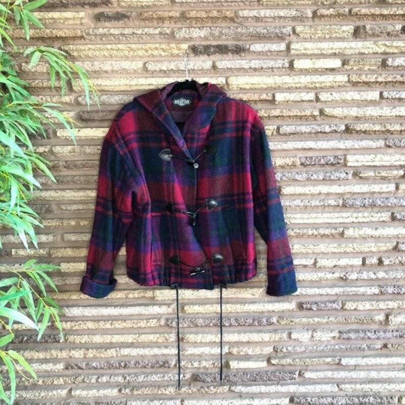 Braetan Vintage 80s Plaid Hooded Pea Coat
