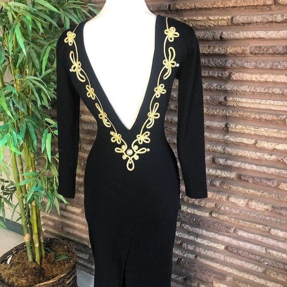 Vintage 80s Bejeweled Deep V Back Bodycon Dress