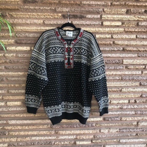 Voss Norwegian Vintage Fair Isle Wool Ski Sweater