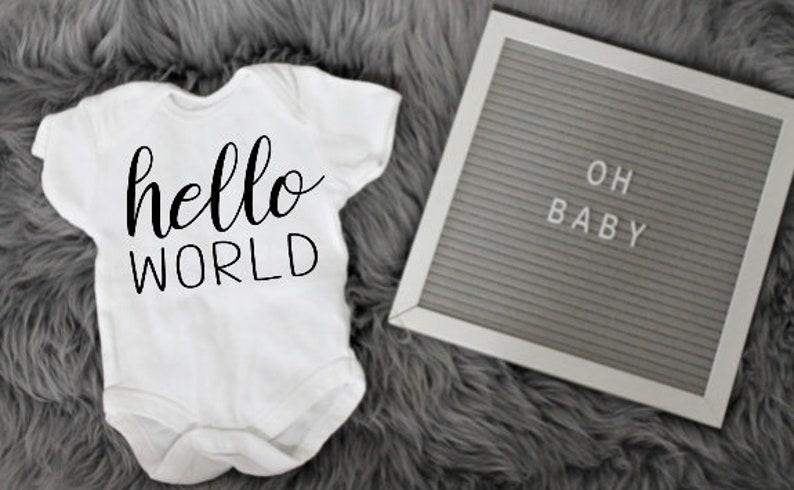 Custom Hello World Baby BodysuitBaby Onesie Birth AnnouncementNewborn photos outfit