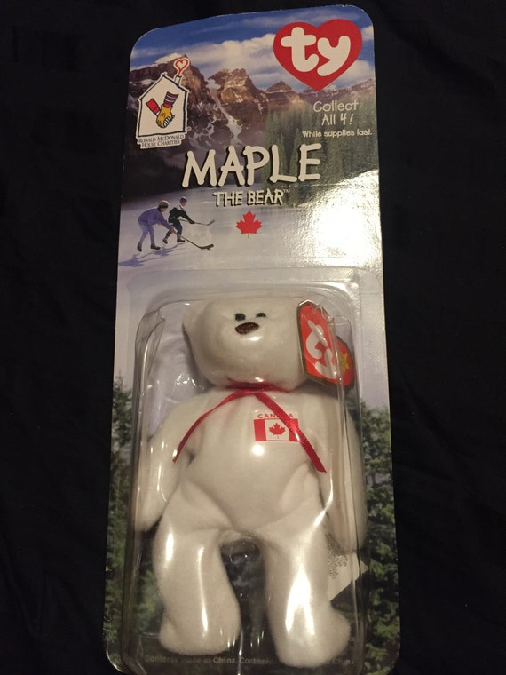 Ty RARE Collectible Maple the Bear Beanie Baby Ronald Mcdonald House Charities