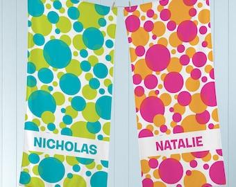 Lots Of Dots Custom Beach Towel Custom Pool Towel Beach Towel With Name Outside Birthday Vacation Gift