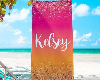 Personalized Gradient And Glitter Beach Towel,