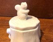 Squirrel Animal Woodlands White Figurine Jewelry Knick Knack Trinket Jar Box