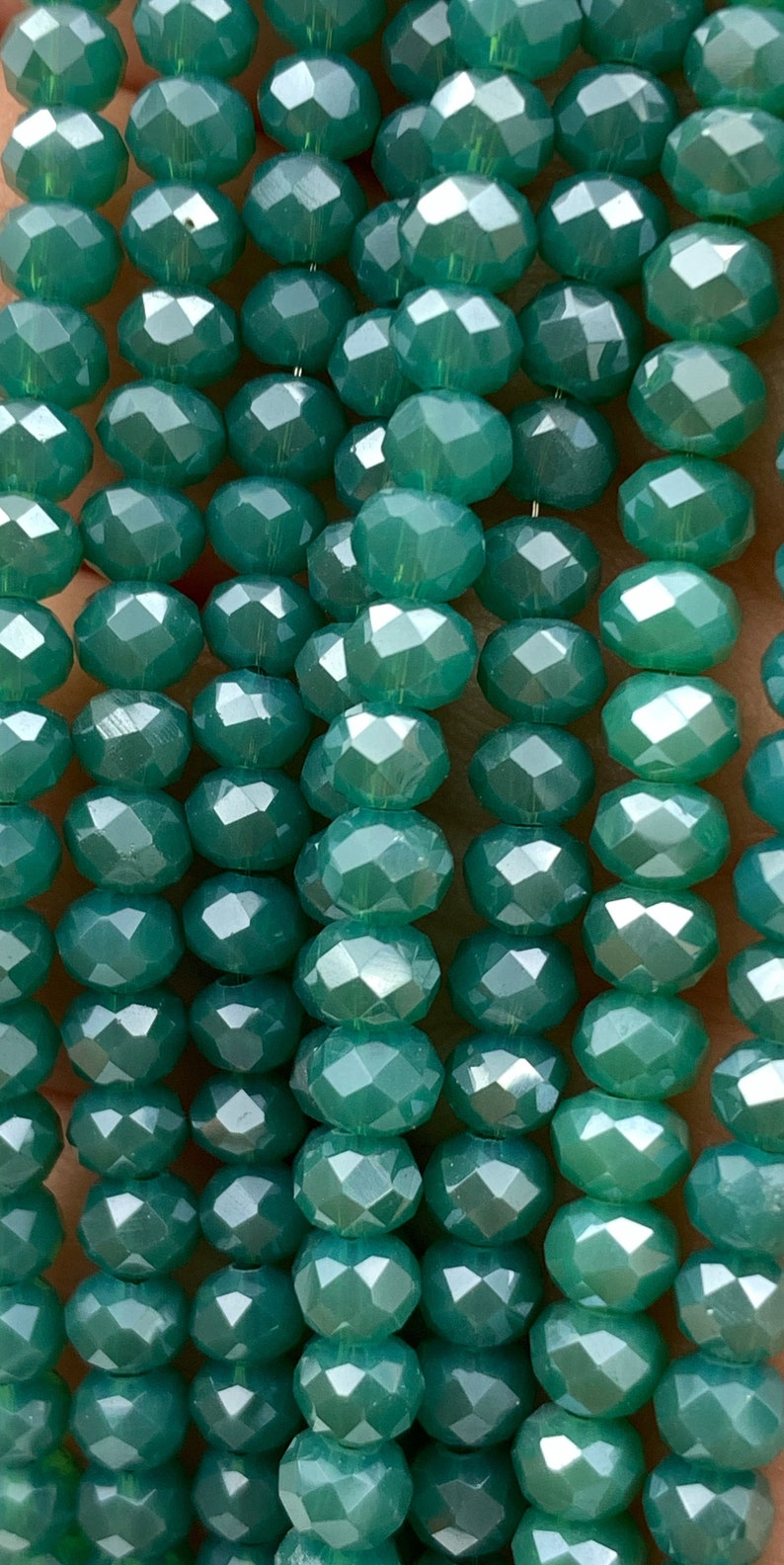*Free Shipping on Orders over 60* 4 x 3mm Glossy Faceted Teal Rondelle Shaped Chinese Crystal