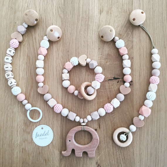 gripper  pacifier chain with name 2 piece Newborn set or single ELEFANT