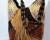 Leather Patchwork Bag Tooled Leather Handcraft Leather Bag Bohemian Bag Leather Fringe College Going Bags Suede Hobo Bag Brown Bag,