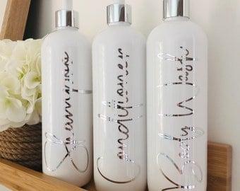 Bathroom Bottle Set - 1 litre, 500ml or 250ml metallic reusable dispenser bottles - Shampoo Conditioner & Body Wash