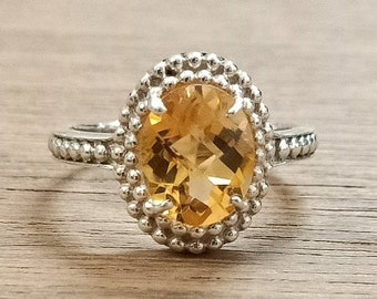Handmade Natural Amethyst & Citrine Rings | 8x10 mm Oval Shape Semi Precious Gemstone with 925 Sterling Silver | AAA Quality Cut Gems Ring