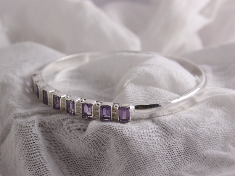 Natural Semi Precious Gemstone Octagons 6 x 4 mm Handmade Bangle Bracelet with Natural Amethyst and Sterling Silver 62 mm inner diameter