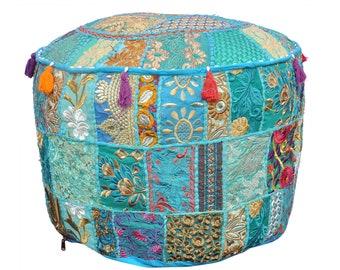 Ottomans, Footstools & Poufs Patchwork Ottoman Pouf Cover Vintage Decorative Pouffe Case Embroidered Poufs