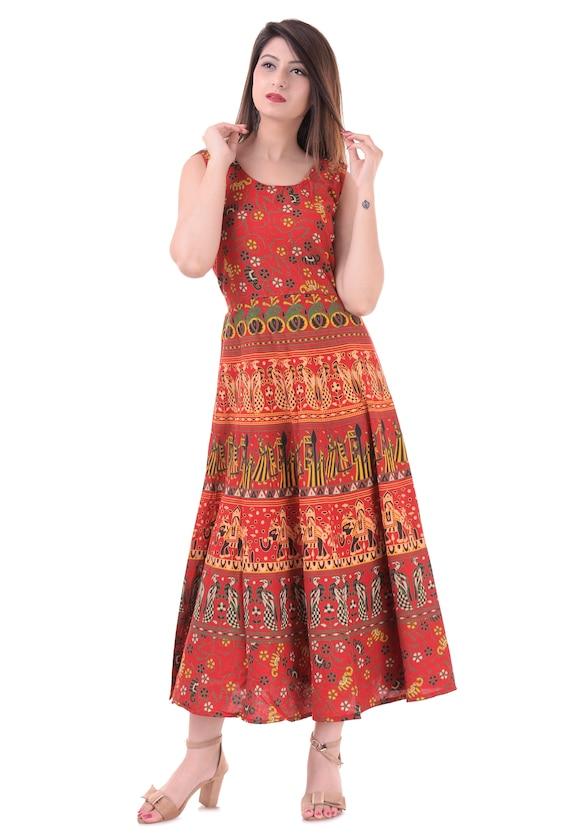 Indian Mandala Handmade Dress 100/% Cotton Summer Wear Designer Beautiful Dress Long Wrap Skirt Hippie Blue Peacock Beach Wear Ethnic
