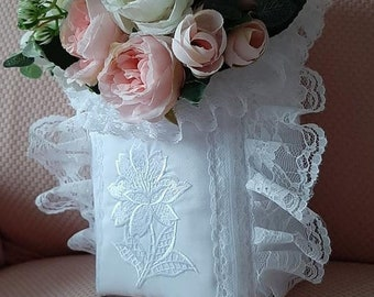 High embroidered panière style shabby white