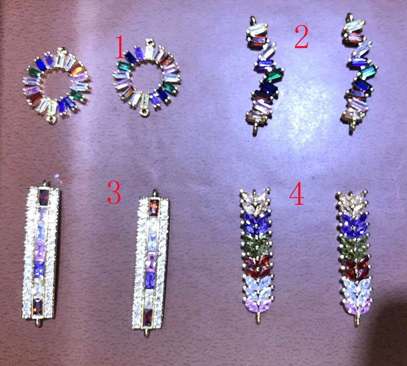 6pcs rainbow micro pave crystal spacer beads  Hollow round-donut-cirle-curved bar-tube-rectangle link connectors with bracelet