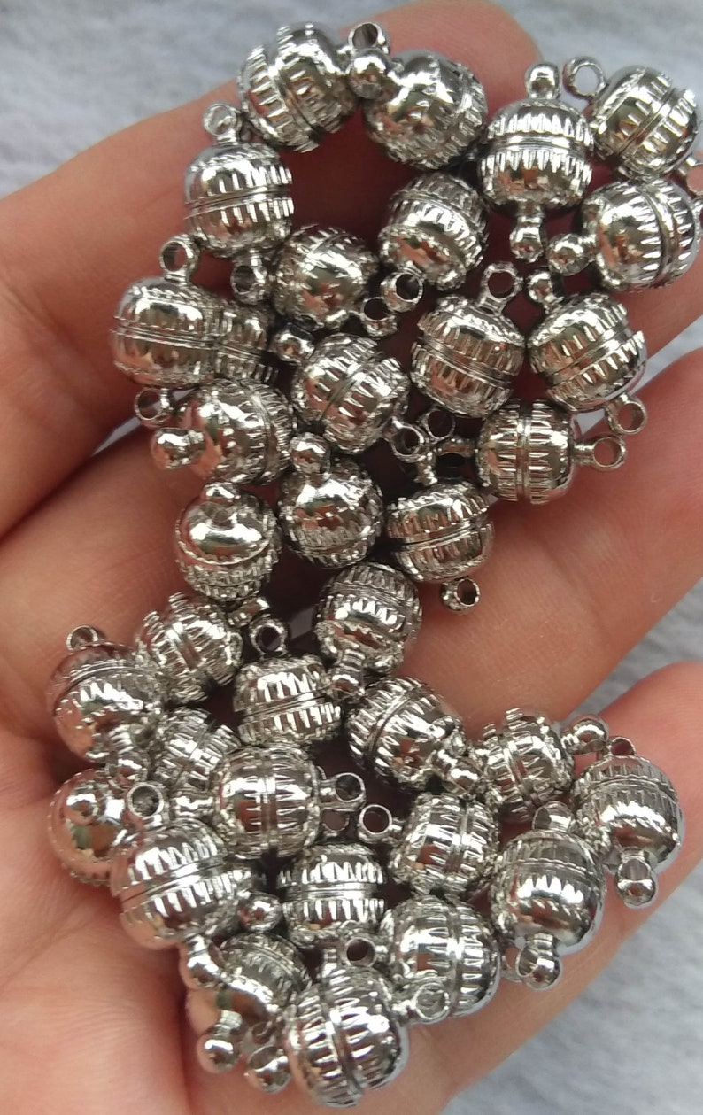 White silver or gold Drum round barrel jewelry clasp 14mm x 8mm 12 pcs Magnetic Clasps