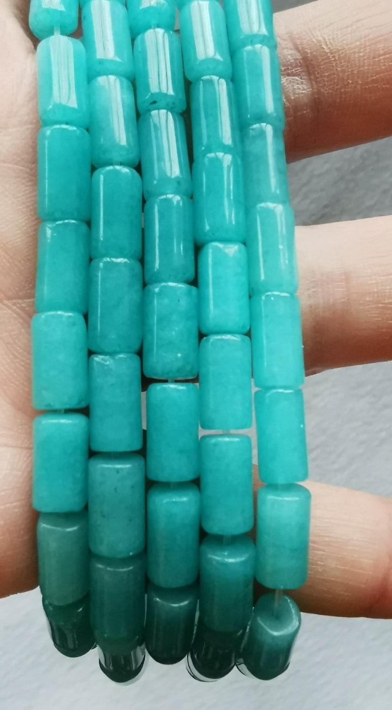 Hot Red 40pcs 6x10mm Amazonite blue Full Strand 16inch Green White Jade Crystal Column tube   Drum Barrel Bead