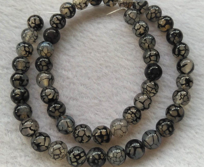 6mm 8mm 10mm 12mm Natural agate gemstone white black dragon vein agate round beads full strand 15.5