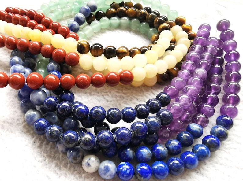 Natural 7 stone Chakra Beads Rondelle Gemstone Amethyst Lapis Sodalite Aventurine Tigers Eye Yellow Jade Red Jasper Amazonite 16 Strand