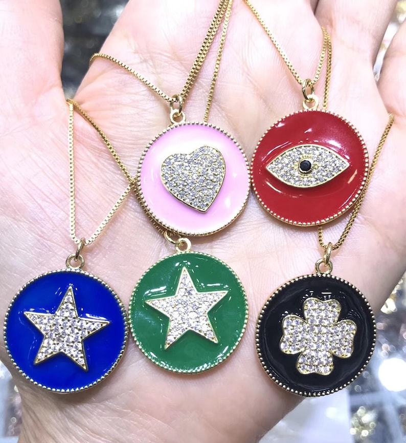 6PCS 35mm Enamel Colorful Round With Horse eye cross-star-heart Pendant,CZ Micro Pave Oil Drop Round focal DIY jewelry  necklace