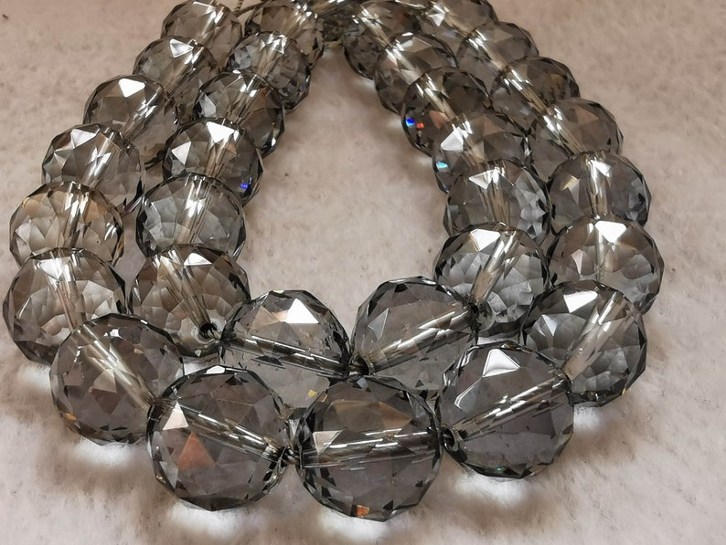 round faceted loose beads for bracelet 16 strand Gray Silver Quartz Rock crystal necklace 6mm 8mm 10mm 12mm