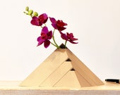 Eco-friendly Pyramids Vase in Recycled Wood Ideal Ikebana Eco Responsible