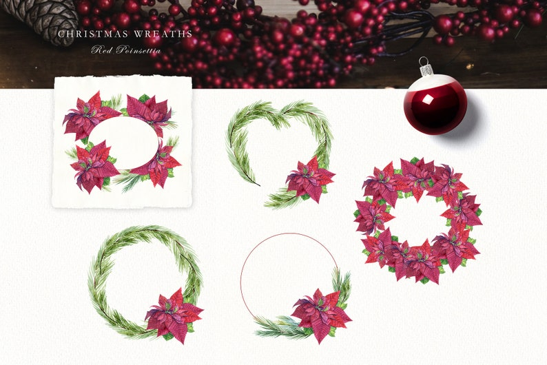 christmas wreath Winter clipart Watercolor Christmas clipart bundle vintage decor for greeting cards and celebration fir tree