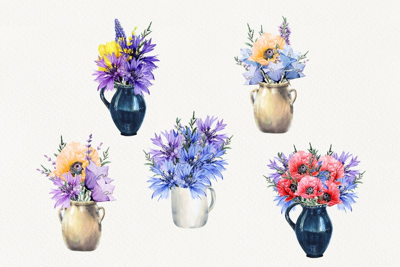 Country png. Watercolor Rustic arrangement Watercolor Meadow Flowers Clipart Hand Painted Meadow Bouquets in Vases Blue flowers