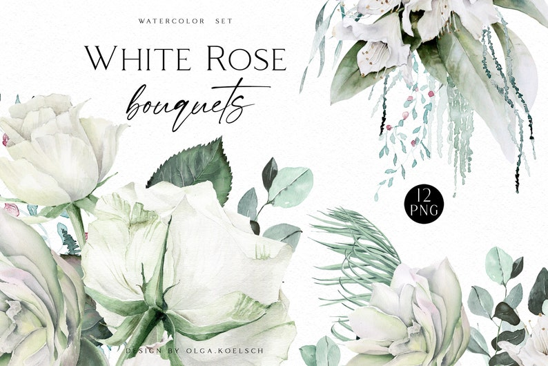 Watercolor white roses clipart feminine logo mother/'s day Boho roses bouquets White flowers and greenery clipart for wedding invitations