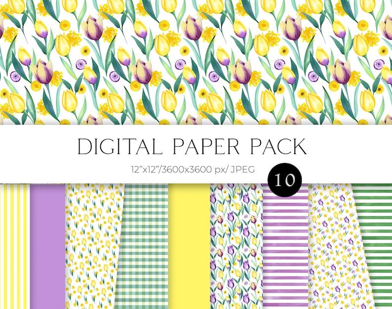Easter Spring seamless pattern yellow and purple flowers digital paper 12x12 JPG Watercolor tulip digital paper pack